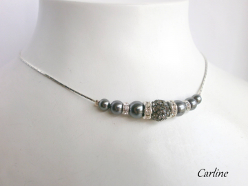 Collection Léontine - Collier Perles Cristal Swarovski Gris Anthracite