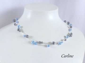 Collection Sloane - Collier Perles Bleu ciel Gris Perles cristal
