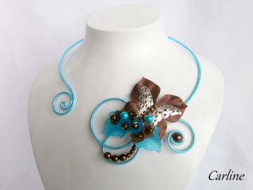Collection Carlie - Collier Turquoise et Marron Chocolat