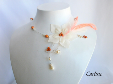 Collection Garance - Collier Orange vif Ivoire Foncé