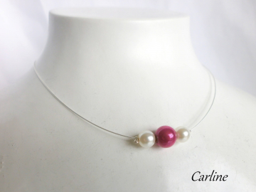 Collection Perline - Collier Perles Fushia et Blanc