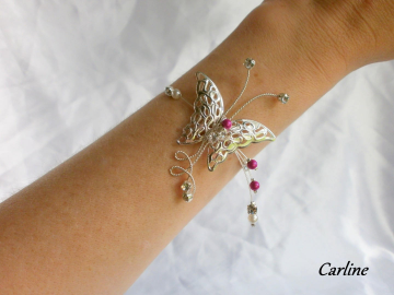 Collection Carline - Bracelet mariage papillon argenté Blanc fushia