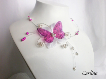 Collection Leila - Parure 3 pces Fushia IvoireClair Fleur soie Papillon