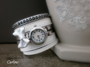 Collection Olympe - Montre Manchette bracelet Noeud cuir Blanc Argent Strass