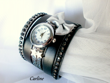 Collection Ella - Montre cuir manchette originale Argent Strass