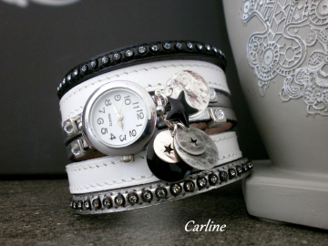 Collection Ella - Montre cuir Blanc Argent Noir Strass