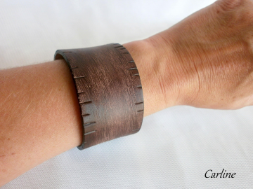 So Fashion by Carline - Bracelet Manchette Large Cuir Marron Vintage