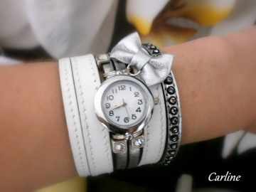 Collection Olympe - Montre bracelet Noeud cuir Blanc Argent Strass