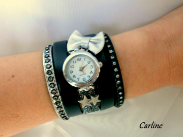 Collection Ella - Bracelet Manchette montre cuir Noir Argent Strass