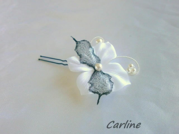 Epingle Pic barrette cheveux Fleur Satin Organza Blanc Noir