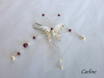 Collection Carline Strass - Broche remonte traîne papillon strass Bordeaux Blanc