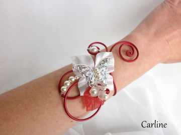 Collection Carlie - Bracelet Rouge Ivoire clair Blanc