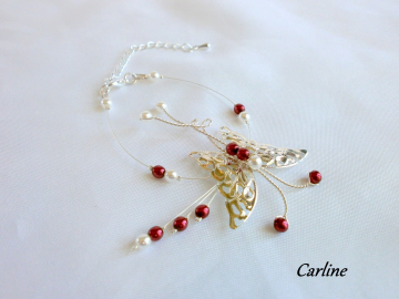 Collection Carline - papillon argenté, Blanc rouge