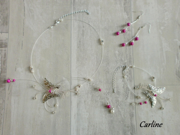 Collection Carline strass - papillon argenté Blanc fushia