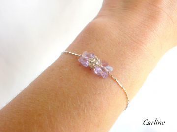 Collection Hilana - Bracelet Swarovski Violet et Strass Boule