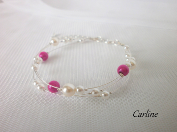 Collection Joana - Bracelet perles nacrées triple rang Blanc Fushia