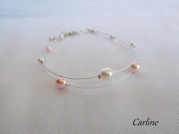 Collection Perline - Bracelet Mariée perles Rose clair Blanc Swarovski