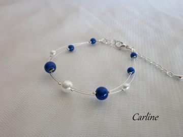 Collection Perline -Bracelet perles Bleu Roi et Blanc