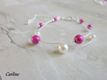Collection Perline - bracelet fushia ivoire clair cristal swarovski