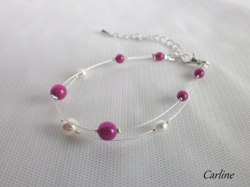 Collection Perline - Bracelet perles fushia et Blanc 2 rangs